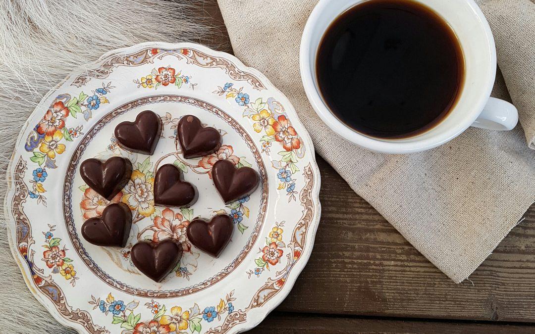 Sjokoladehjerter med peanøtter